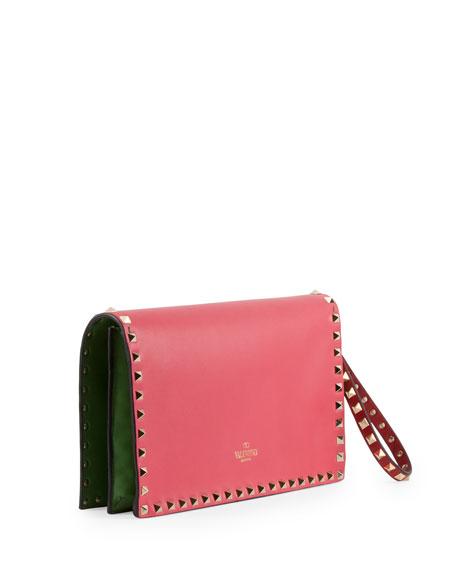 Rockstud Pop Flap Wristlet Clutch Bag, Pink/Red/Green