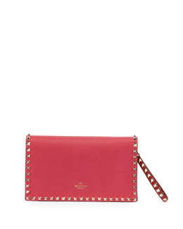 Valentino Rockstud Pop Flap Wristlet Clutch Bag, Pink/Red/Green