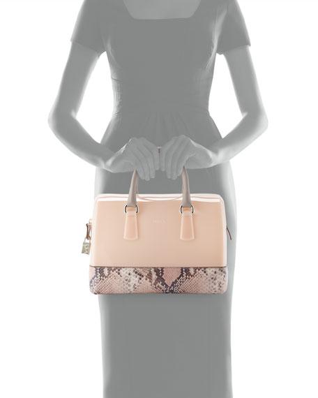 Candy Medium Snake-Print Duffel Bag, Blush