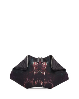 Alexander McQueen De-Manta Moth-Print Clutch Bag