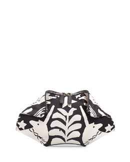 Alexander McQueen Small De-Manta Printed Leather Clutch Bag, Black/White