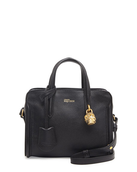 Mini Padlock Zip-Around Tote Bag, Black