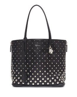 Alexander McQueen Padlock Small Studded Shopper Bag, Black/White
