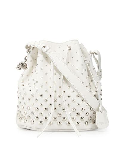 Studded Padlock Bucket Bag, White