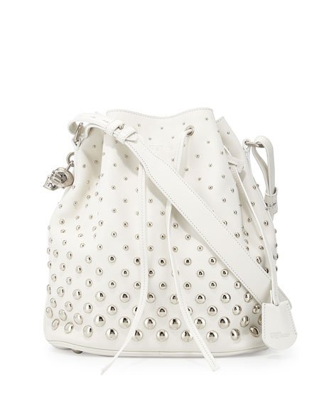 Studded Padlock Bucket Bag, White