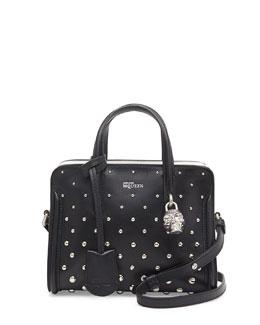 Alexander McQueen Mini Studded Padlock Zip-Around Tote Bag, Black/White