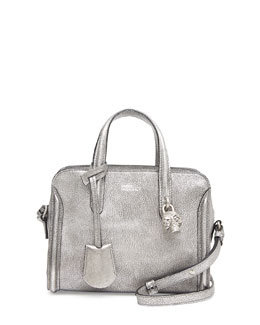 Alexander McQueen Mini Padlock Zip-Around Tote Bag, Silver