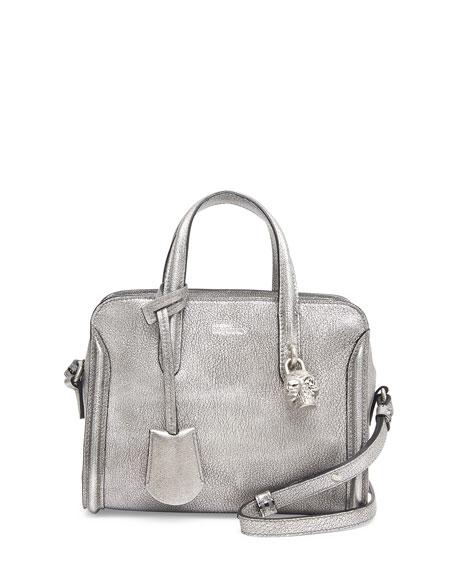 Mini Padlock Zip-Around Tote Bag, Silver