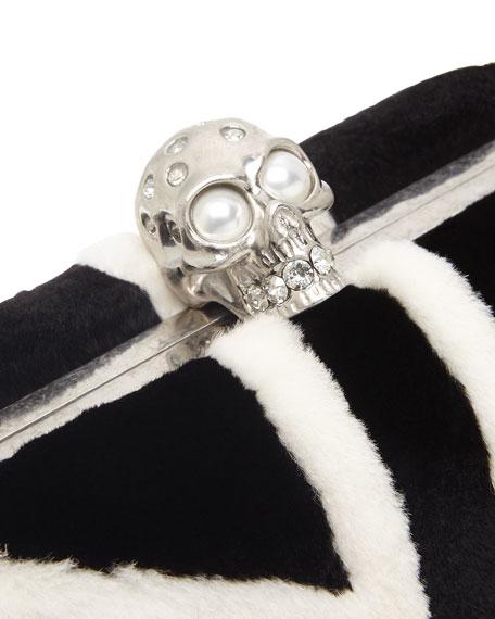Britannia Skull-Clasp Mink Fur Clutch Bag, Black/White