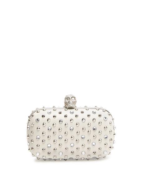 Stud & Crystal Skull-Clasp Clutch Bag, White