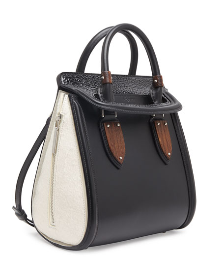 Heroine Small Satchel Bag, Black/White