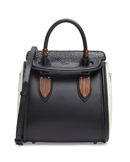 Alexander McQueen Heroine Small Satchel Bag, Black/White