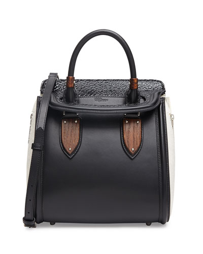 Alexander McQueen Heroine Small Satchel Bag, Black/White