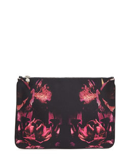 Alexander McQueen Night Flowers Skull Zip Pouch
