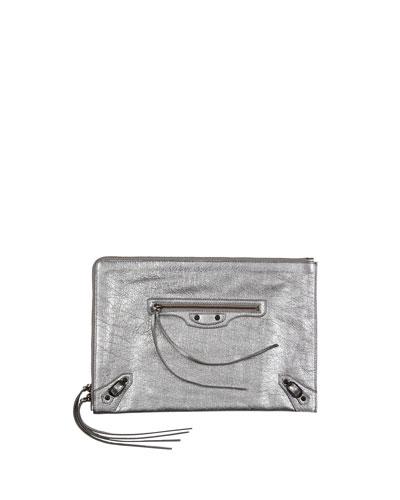 Balenciaga Classic Flat Zip Pouch, Silver