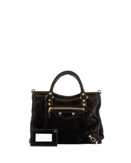 Balenciaga Giant 12 Golden Suede Velo Bag, Black