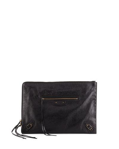 Balenciaga Classic Flat Zip Pouch, Black