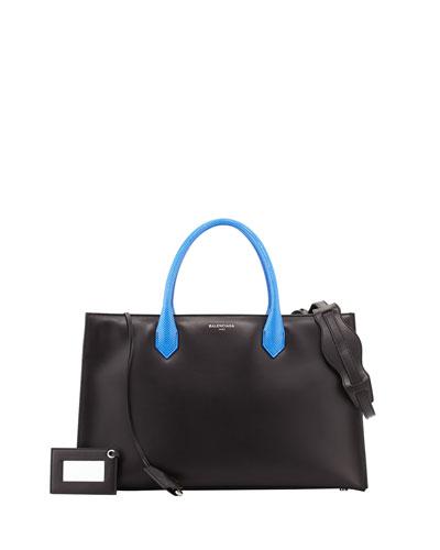 Balenciaga Padlock Nude Works Tote Bag, Black/Cobalt