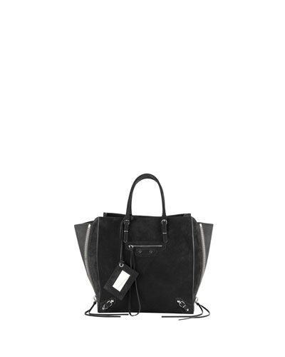 Balenciaga Papier A5 Suede Zip-Around Tote Bag, Black