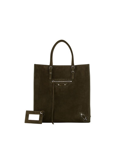 Balenciaga Papier A5 Suede Zip-Around Tote Bag, Olive