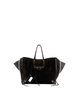Balenciaga Papier A4 Side Zip Suede Tote Bag, Black