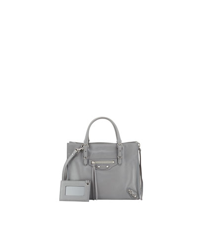 Balenciaga Papier A4 Mini Leather Tote Bag, Gray