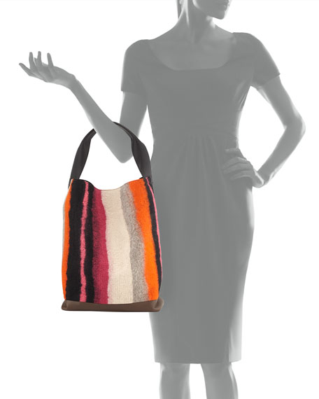 Heavy Stripe Wool Shoulder Bag