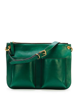 Marni Bandoleer Soft Leather Shoulder Bag, Green
