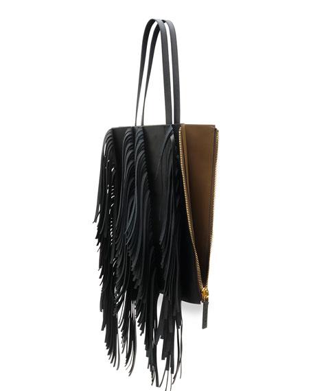 Fringe Leather Shopping Tote Bag, Black/Gray