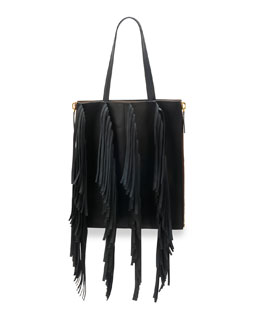 Marni Fringe Leather Shopping Tote Bag, Black/Gray