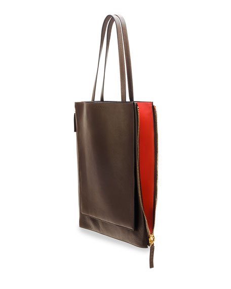 Bicolor Shopping Tote Bag, Brown/Coral