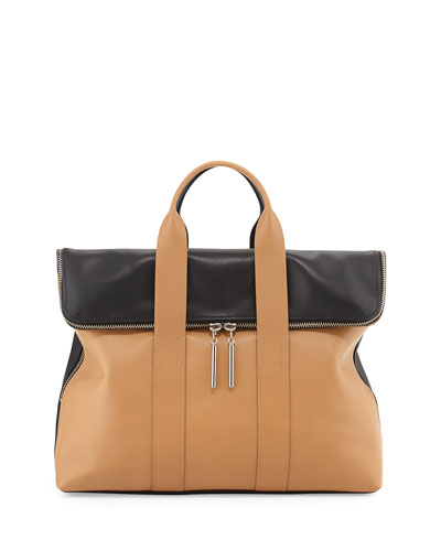3.1 Phillip Lim 31-Hour Fold-Over Satchel Bag, Nude/Black