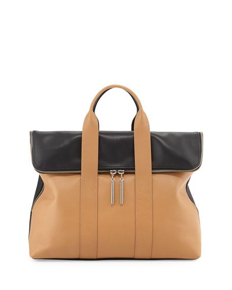 31-Hour Fold-Over Satchel Bag, Nude/Black