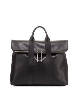 3.1 Phillip Lim 31-Hour Fold-Over Tote Bag, Black