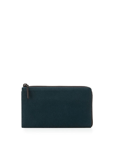 3.1 Phillip Lim 31 File Folder Calf Hair Zip Wallet, Teal