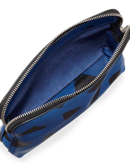 31 Second Leather Zip Pouch, Bright Cobalt/Black