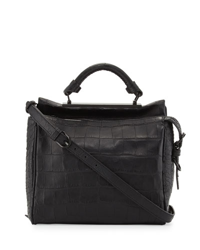 3.1 Phillip Lim Ryder Small Croc-Embossed Satchel Bag, Black