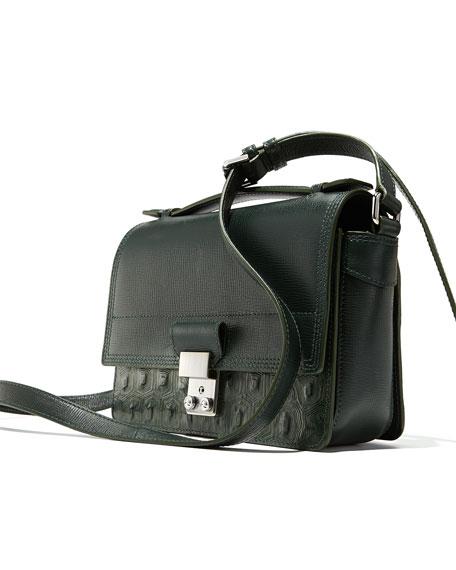 Pashli Mini Leather Messenger Bag, Hunter