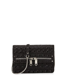 Milly Bowery Snake-Print Hologram Crossbody Bag, Black