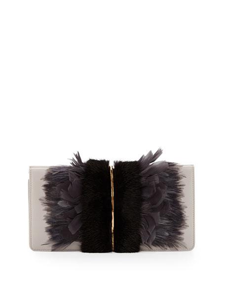 Arc Feather/Fur Clutch Bag, Black/Gray
