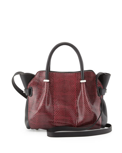 Nina Ricci Marche Medium Snake Satchel Bag, Black
