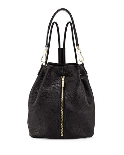 Elizabeth and James Cynnie Leather Drawstring Backpack, Black