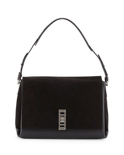 PS Elliot Suede/Calfskin Shoulder Bag, Black