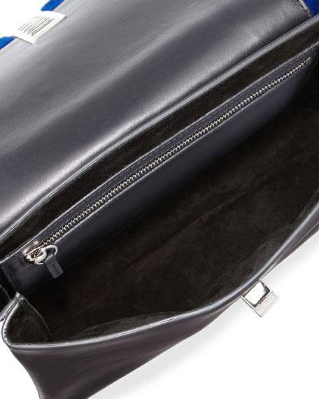 PS Elliot Leather & Shearling Fur Clutch Bag, Cobalt/Black