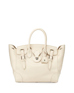 Ralph Lauren Soft Ricky 33 Calfskin Satchel Bag, Off White