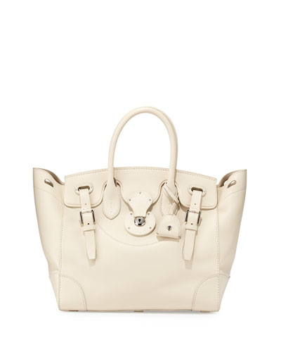 Soft Ricky 33 Calfskin Satchel Bag, Off White