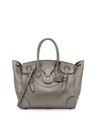 Soft Ricky 33 Calfskin Satchel Bag, Pewter