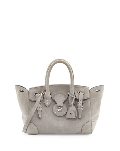 Soft Ricky 27 Suede Satchel Bag, Gray