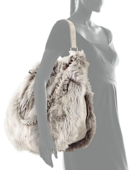 Shearling Fur Bucket Bag, Gray