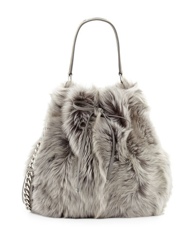 Ralph Lauren Shearling Fur Bucket Bag, Gray